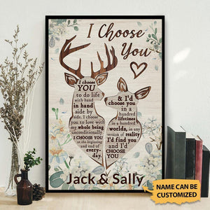 Personalized Deer I Choose You Vertical Poster