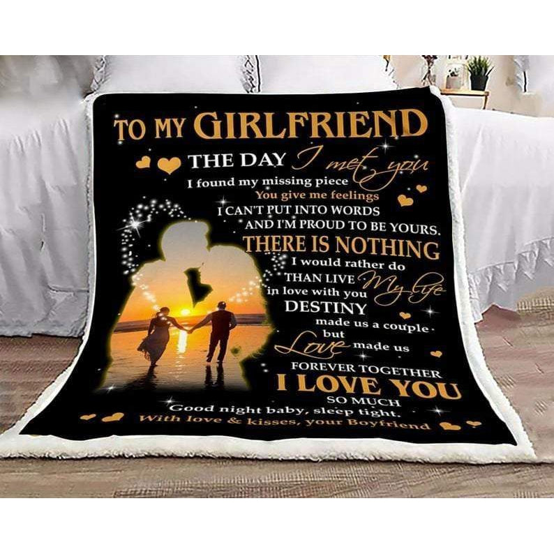 To My Girlfriend Blanket - I Met You I Found My Missing Piece Forever Together - Blanket Gift For Girlfriend - Valentine Gift For Him/her