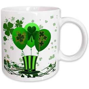 St. Patrick's Day 2021 Gifts  3dRose Green, St. Patrick's Day Balloons, Clovers,Top Hat, Irish Celebrations, Ceramic Mug