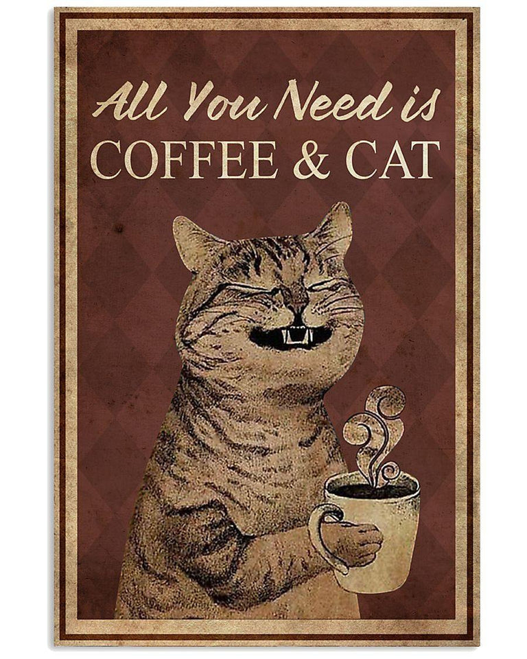 American Shorthair Cat Canvas Wall Art - All you need is coffee and cat - Anniversary Birthday Christmas Housewarming Gift Home