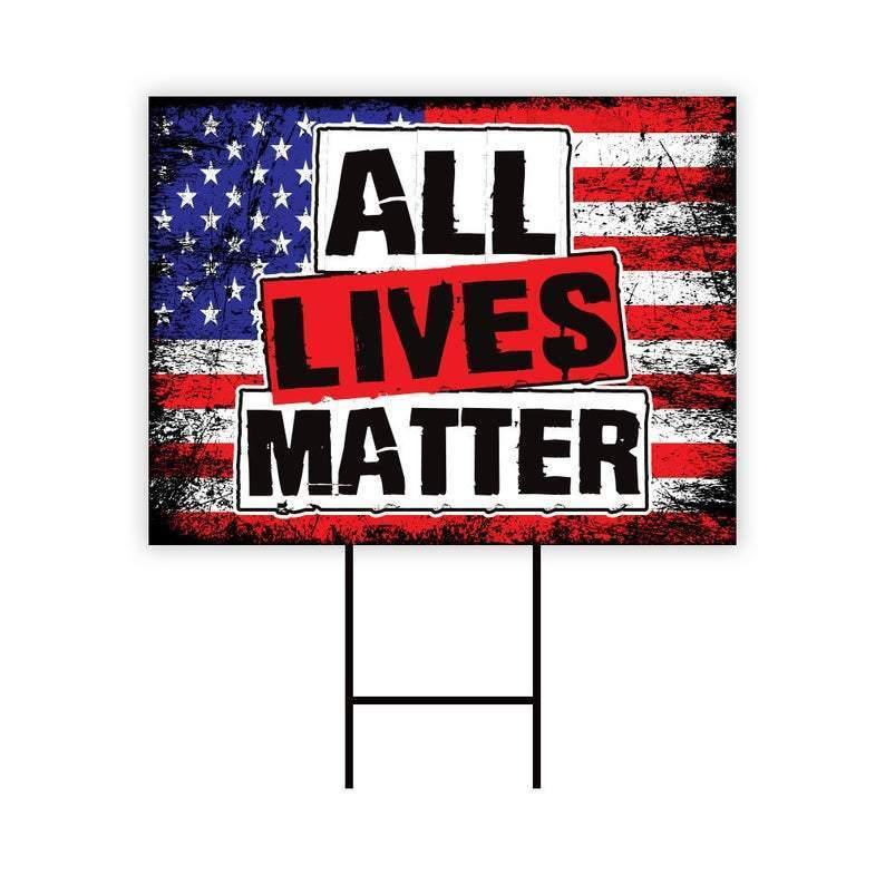 "All Lives Matter Yard Sign 18"" x 12"" - Visible Text Long Lasting All Lives Matter Sign with Metal H-Stake, A"