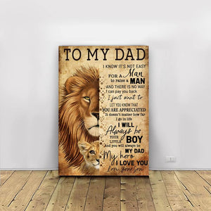 Fathers Day Canvas - To My Dad You Will Always Be My Dad My Hero - Fathers Day Gifts Home Decor, Canvas Wall Art
