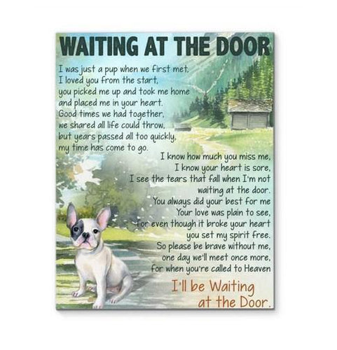 French Bulldog- Waiting at the door Canvas - Family Presents - Great Blanket, Canvas, Clothe, Gifts For Family