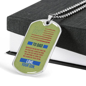 Personalized Fathers Day Necklace, Gift For Dad, Premium Military Chain Dog Tag Necklace for Dad From a Military, Navy, Airforce Son, Deployment Gift, Long Distance
