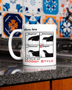 Personalized Funny White Mug for her, him, Levels of Doggy style, Funny gift for her birthday, couple gift mug