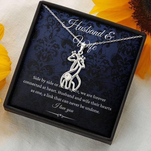 Wife And Husband Necklace - Graceful Love Giraffe Pendant Necklace & Message Card -  Valentine Gift For Couple - Family Presents - Great Blanket, Canvas, Clothe, Gifts For Family