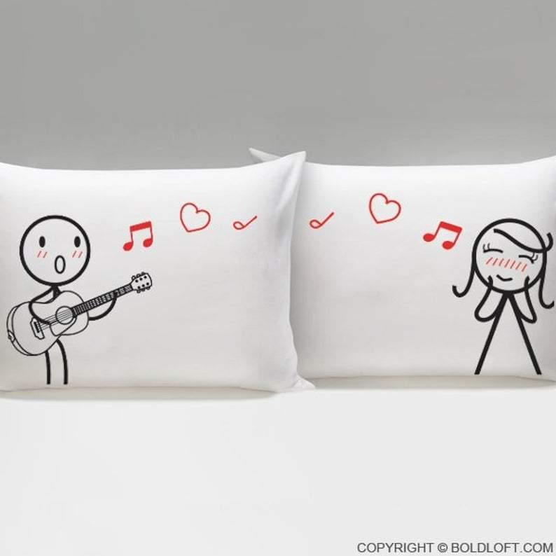 Canvas Pillow - Couples Gift Pillow - Guitar Lover Gift - Valentine gift for her and him (the girl item) - Family Presents - Great Blanket, Canvas, Clothe, Gifts For Family