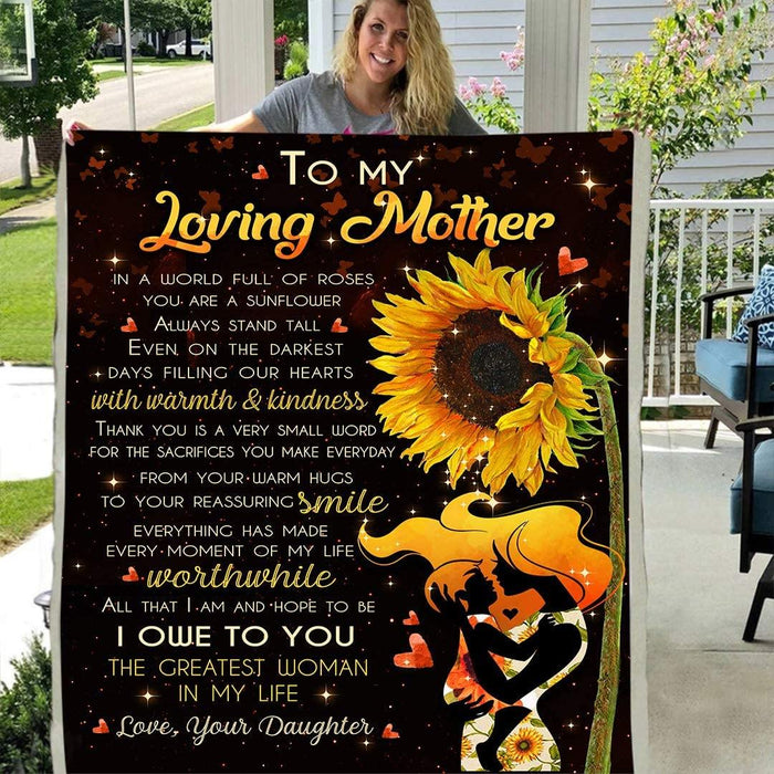 Happy mother's day - To My Love Mother from Daughter You are a Sunflower Always Stand Tall Front Flannel Back Sherpa Fleece Blanket