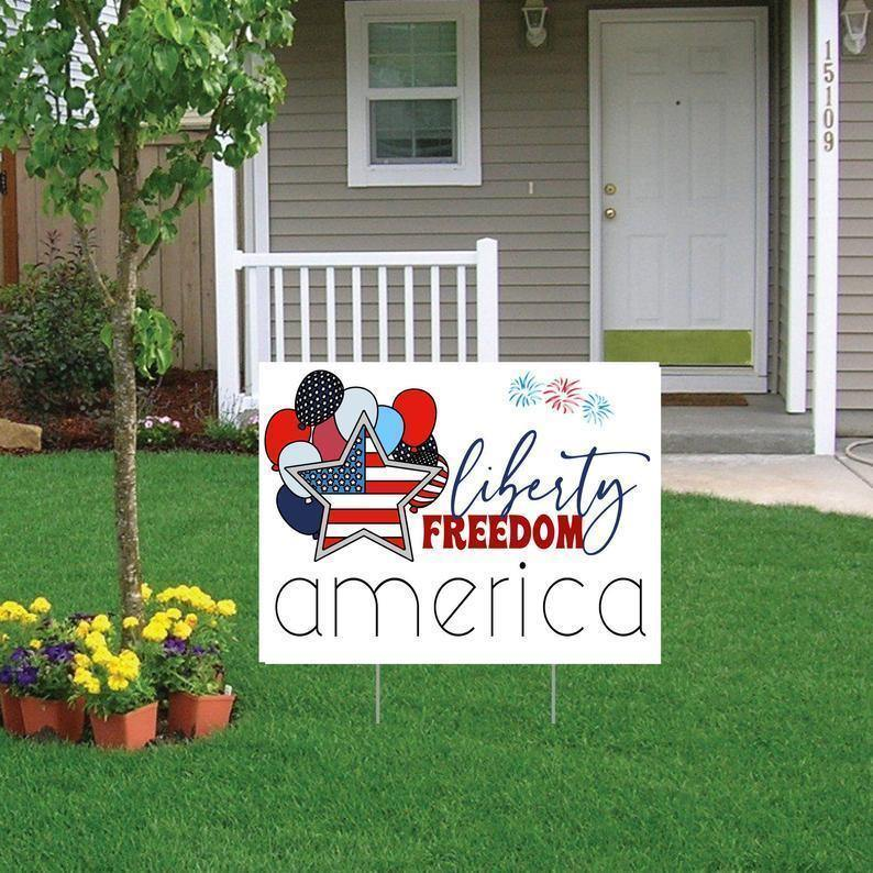 4th of July Yard Sign, Independence Day Lawn Sign, Patriotic Garden Sign, July 4th Outdoor Decor, Flag Decor, USA Porch Sign