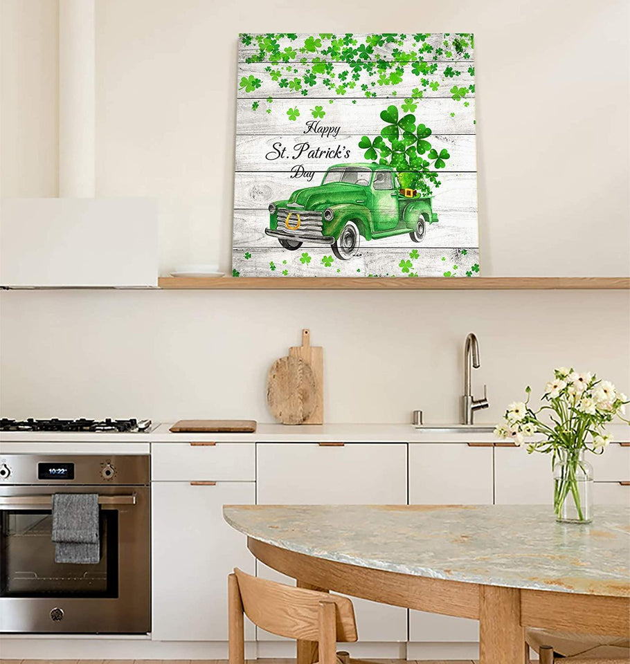 St. Patrick's Day 2021 Gifts  Canvas Print Wall Art Painting Decor, Happy St. Patrick's Day Vintage Truck, Modern Home Decorations