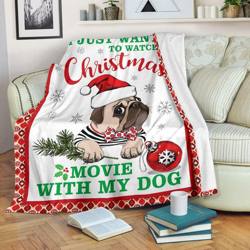 PUG CHRISTMAS BLANKET SKY - Family Presents - Great Blanket, Canvas, Clothe, Gifts For Family