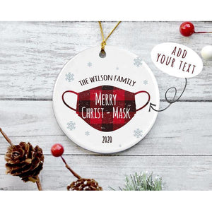 2020 Merry Christ-mask The Family Custom Ornament, Funny Family Christmas Ornament, Christmas Gift For Family,Buffalo Plaid Christmas Gifts - Circle Ornament (2 sided)