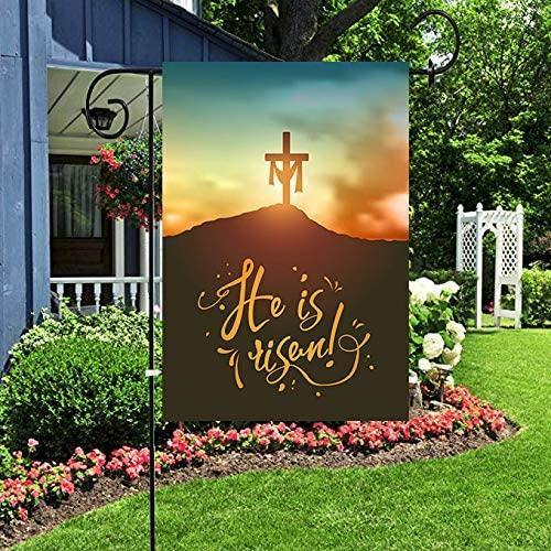 Happy easter day - Garden flag house flag - Christian Easter Cross Garden Yard Flag Banner House Home Decor, He is Risen Small Mini Decorative Double Sided Welcome Flags for Holiday Wedding Party Outdoor Outside - Family Presents - Great Blanket, Canvas, Clothe, Gifts For Family