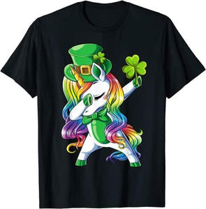 St Patricks Day Girls Dabbing Unicorn Leprechaun Lepricorn T-Shirt - Family Presents - Great Blanket, Canvas, Clothe, Gifts For Family