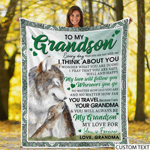 Personalized To My Grandson Blanket Gift From Grandma - Gift for Christmas, Birthday