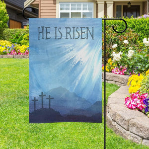 Happy easter day - Garden flag house flag - He is Risen Cross in Mountain Flag for Outdoor Home Garden Flower Pot Decor - Family Presents - Great Blanket, Canvas, Clothe, Gifts For Family