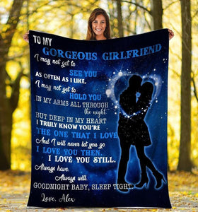 Personalized Custom Name Blanket - My Gorgeous Girlfriend I Love You - Blanket Gift For Girlfriend - Valentine Gift For Him/her - Family Presents - Great Blanket, Canvas, Clothe, Gifts For Family