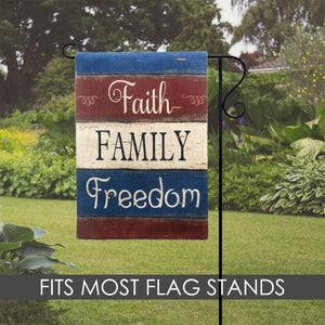 Garden flag house flag - Faith Family Freedom Patriotic Garden Flag Double Sided - 4th of July Holiday Small Yard Flag with Saying Yard Decor Outdoor Home Decorations - Family Presents - Great Blanket, Canvas, Clothe, Gifts For Family