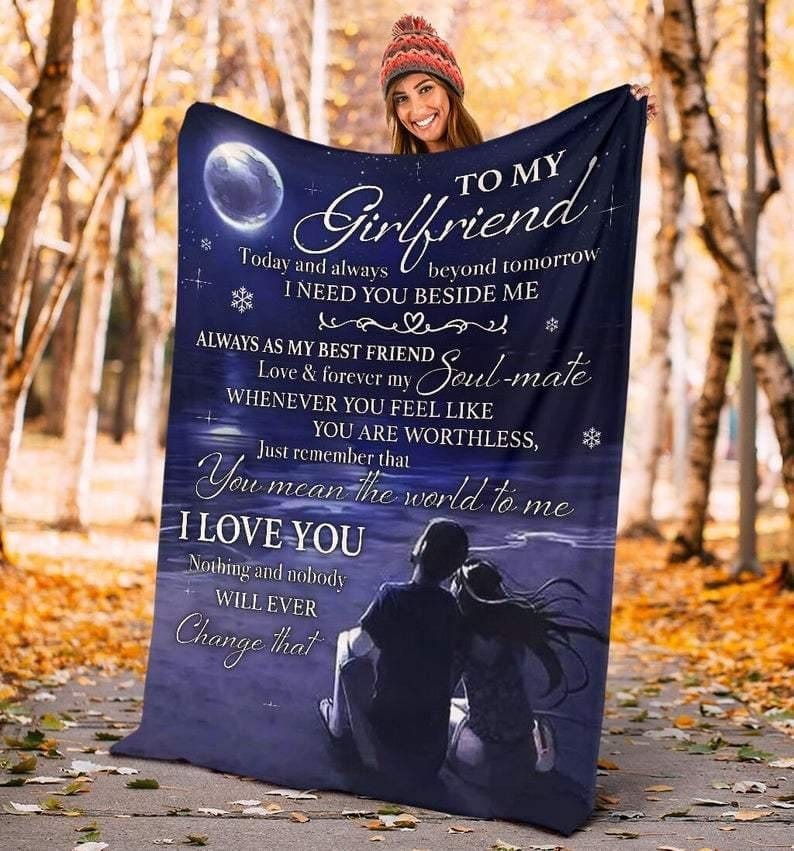To My Girlfriend Blanket - I Need You Beside Me  - Blanket Gift For Girlfriend - Valentine Gift For Girlfriend