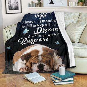 English Bulldog Goodnight blanket - Always remember to fall as sleep with a dream - Birthday, Christmas gift for friends, dog lovers