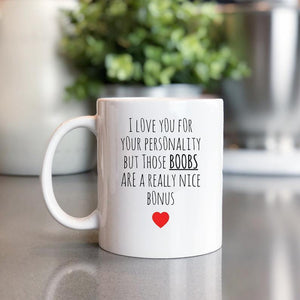 Valentine gift for her, Funny Mug Wife,Wife Gift,Wife Mug,Women Gift for Wife,Great Wife,Best Wife, Girlfriend Gift, Boobs are a Nice Bonus - Family Presents - Great Blanket, Canvas, Clothe, Gifts For Family