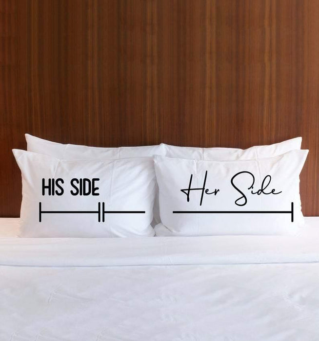 (2 items) Pillowcases Gift for Couple, Valentines Day Gift, His Side Her Side Pillow Cases, Couples Gift His and Hers Pillows - Her side pillow and his side pillow