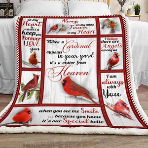 Cardinal Birds Fleece Blanket, Red Bird Saying blanket, I am always with you blanket