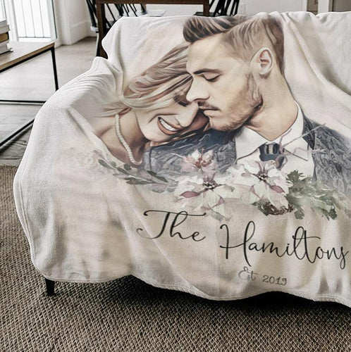 Personalized Blanket - personalized blanket for adults personalized photo blanket customized custom blanket picture personalized gift anniversary gift for husband - Birthday, Valentine, Anniversary, Christmas day -  Custom your name and photo