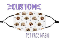 Custom Photo Pet Face Mask, Pet Lovers, Pet Gift, Dog Gifts, Personalized Gifts, Cat Gifts, Pet Birthday, Mask With Dog Photo