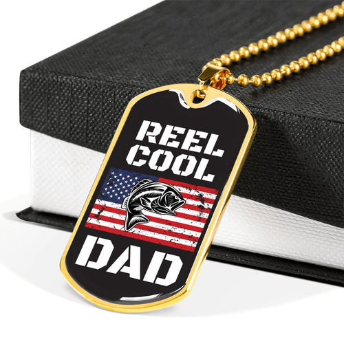 Personalized Fathers Day Necklace, Gift For Dad From Son - Military Style Dog Tags - Who loves Fishing, Reel Cool Dad