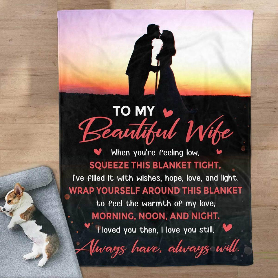 To My Beautiful Wife Blanket - Morning, Noon & Night - Blanket Gift For Wife - Valentine Gift For Wife