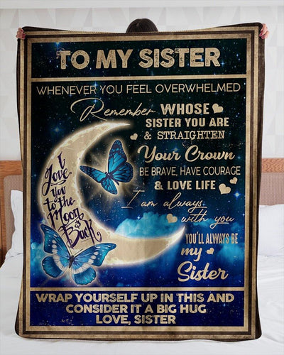 Special gift for sister - Butterfly blanket - I love you to the moon and back