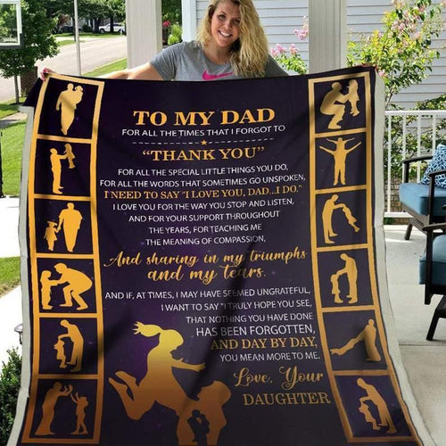 Dad & Daughter Blanket, Blanket for Dad, Blankets for Fathers, Family Blanket - Fathers' Day Gift, Daughter to Dad, Gift for Dad - Family Presents - Great Blanket, Canvas, Clothe, Gifts For Family
