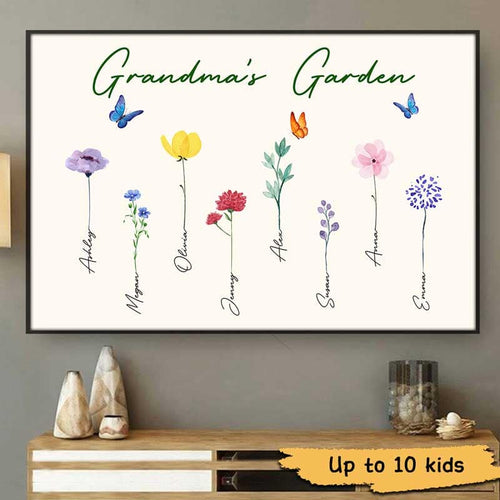 Personalized Canvas, Family Wall Art, Watercolor Flowers Prints with custom name, Home room decor, Gift for grandma, grandpa from kids (up to 10 names)