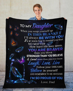 Blanket gift to daughter from dad - Father and daughter - Birthday gift, graduation gift - You are braver than you think