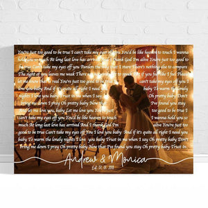 Personalized Canvas - First Dance Lyrics On Canvas Wedding Song Lyrics wall art Custom Song Lyric Art Wedding Vows Anniversary Gift Personalized Lyrics Gift - Gift for Wife/Husband - Anniversary, Valentine, Birthday, Christmas Day