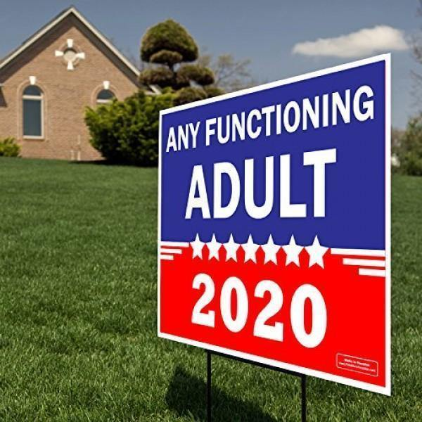 ANY FUNCTIONING ADULT 2020 YARD SIGN INCLUDED STAND