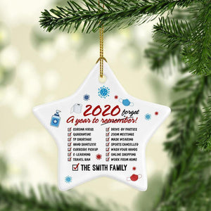 2020 Xmas Personalized 2020 A Year To Forget Quarantine Christmas Ornament Keepsake Star Ornament (2 sided)