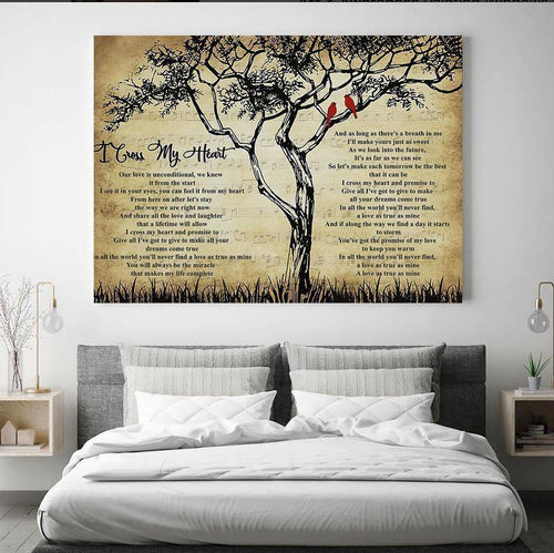 I Cross My Heart Lyrics Canvas, canvas print, Song Lyrics, Art Print, Best gift ever, Music Canvas, Song Lyrics Print, Home Decor - Family Presents - Great Blanket, Canvas, Clothe, Gifts For Family