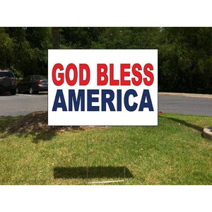 God Bless America Red Blue Corrugated Plastic Yard Sign /Free Stakes