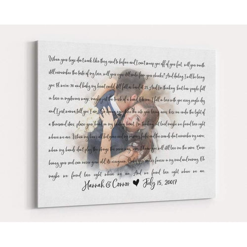 Personalized Canvas - Faded Wedding Photo with Song Lyrics, Wedding Vows CANVAS Art - First Dance Wedding Memento - Unique Wedding, Anniversary Gift - Anniversary, Valentine, Birthday, Christmas Day