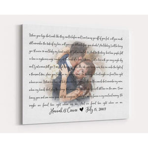 Personalized Canvas - Faded Wedding Photo with Song Lyrics, Wedding Vows CANVAS Art - First Dance Wedding Memento - Unique Wedding, Anniversary Gift - Anniversary, Valentine, Birthday, Christmas Day - Family Presents - Great Blanket, Canvas, Clothe, Gifts For Family