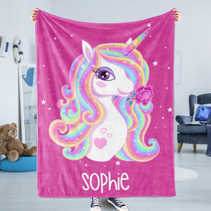 Personalized Blanket - Personalized Kids Blanket - Personalized Magical Unicorn Fleece Blanket - Childrens Gift for Her Gifts for Him Toddler Children's Blanket - birthday, christmas day- Custom your name - Family Presents - Great Blanket, Canvas, Clothe, Gifts For Family