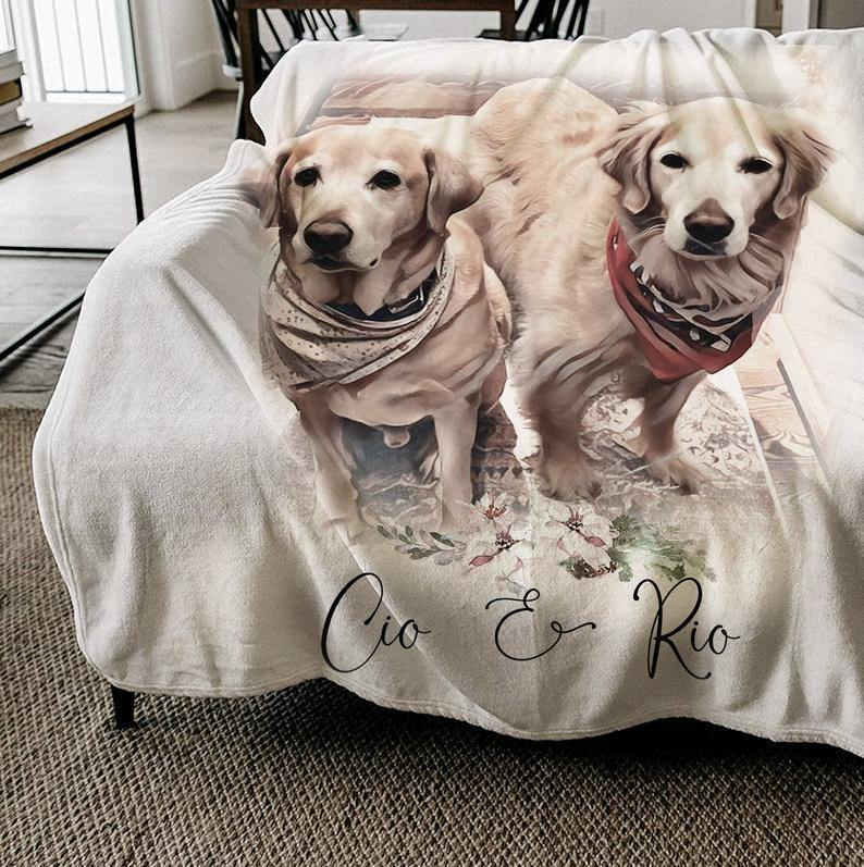 Custom Pet Portrait Blanket - Personalized Blanket - Pet Memorial Gift Personalized Gift for Mom, Gift for him/her, Gift for Lover dog - Custom with your photo and pet's name