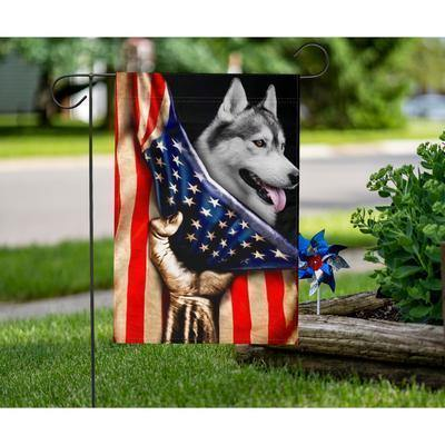 IDM HUSKY AMERICA FLAG HAND  - Garden flag - Family Presents - Great Blanket, Canvas, Clothe, Gifts For Family
