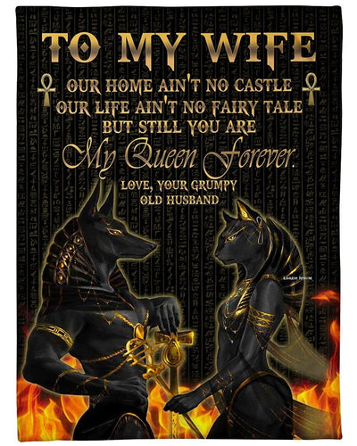 Black Wolf Blanket - To My Wife Our Home Ain't No Castle, My Queen Forever - Gift For Wife - Birthday, Christmas, Anniversary Fleece Blanket