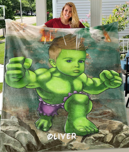 Personalized Kid Blanket - Personalized Hand-Drawing Kid's Photo Portrait H-ulk Fleece Blanket  I - Childrens Gift for Her/Him Toddler Children's Blanket - birthday, christmas day- Custom your name and photo