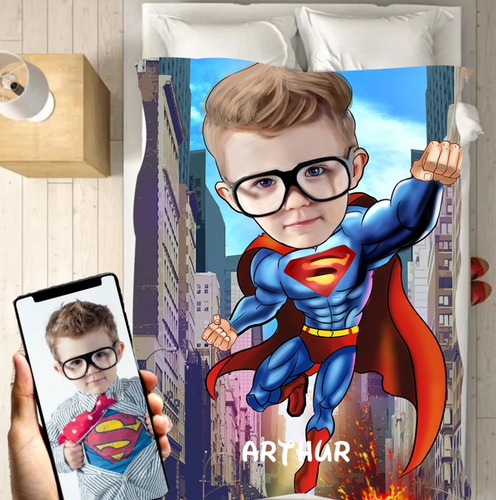 Personalized Kid Blanket - Personalized Hand-Drawing Kid's Photo Portrait Super-man Fleece Blanket III - Childrens Gift for Her/Him Toddler Children's Blanket - birthday, christmas day- Custom your name and photo - Family Presents - Great Blanket, Canvas, Clothe, Gifts For Family