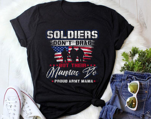 Mothers day T-shirt - Gift for veteran mom from son and daughter - Proud Army Mama Mother Shirt