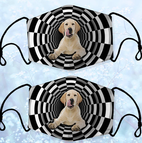 GOLDEN RETRIEVER ILLUSION TUNNEL CLOTH MASK